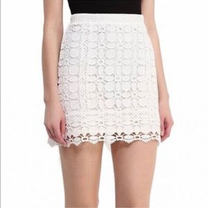 Coming Soon! White Skirt with Floral Lace Overlay